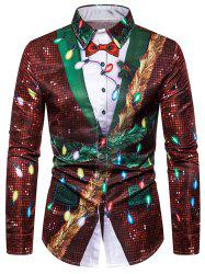 Christmas Faux Sequins Button Up Tuxedo Shirt -
