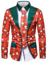 Christmas Snowman Graphic 2 in 1 Tuxedo Shirt -