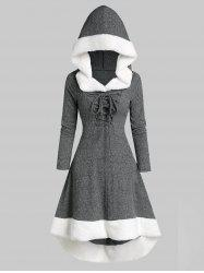 Lace Up Hooded Marled Faux Fur Panel Dress -