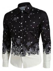 Christmas Snowflake Print Long Sleeve Button Up Shirt -