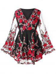 Plus Size Embroidered Peplum T Shirt -