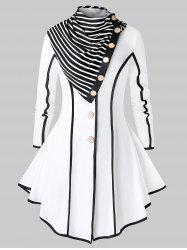Plus Size Stripe Trim Skirted Coat With Scarf -