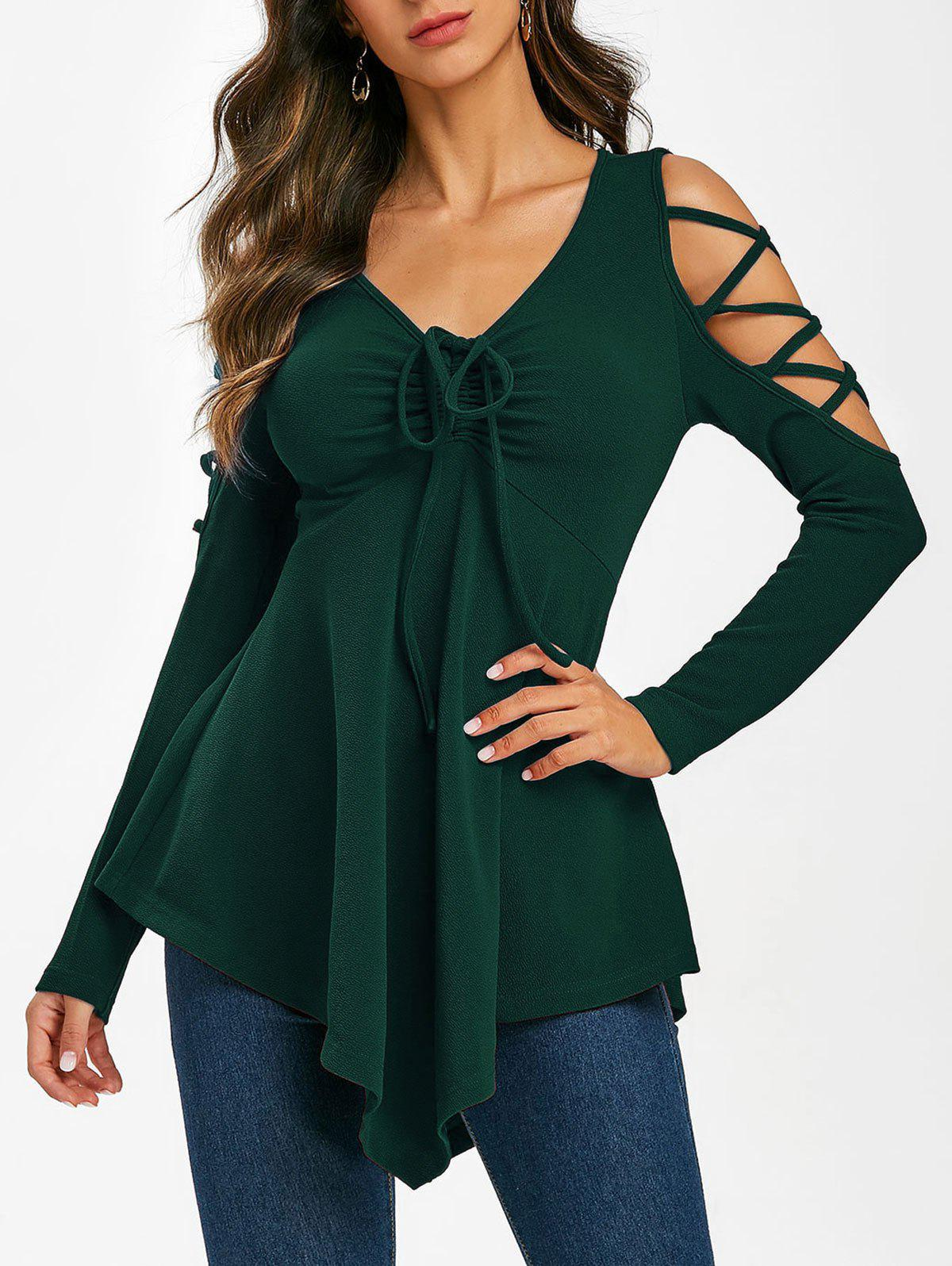 Outfit Crisscross Cold Shoulder Cinched Skirted T Shirt