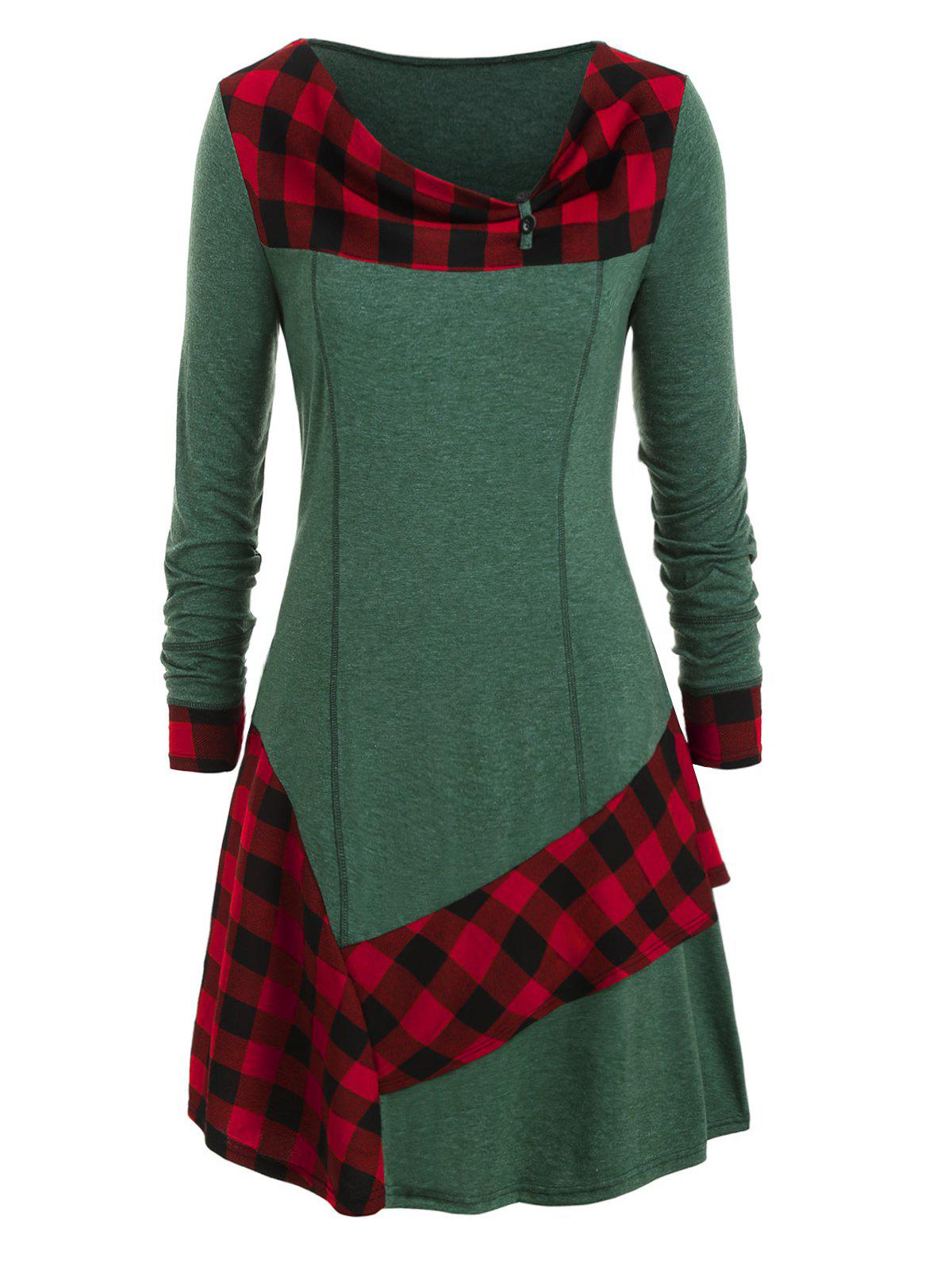 Best Plus Size Plaid Ruffled Skew Neck Long Tunic Tee