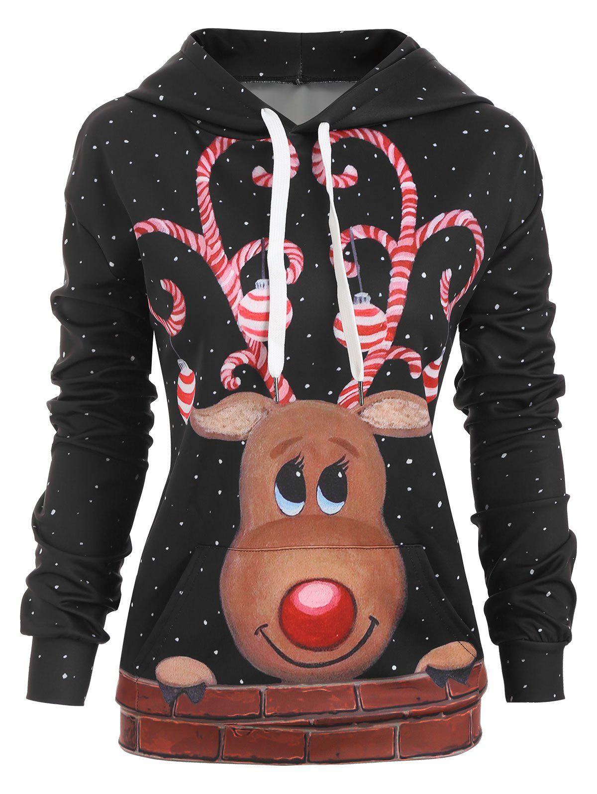 Fashion Reindeer Snow Front Pocket Christmas Loose Hoodie