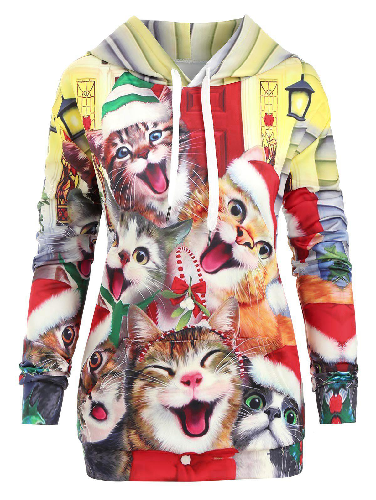 Discount Cats Kangaroo Pocket Christmas Longline Hoodie