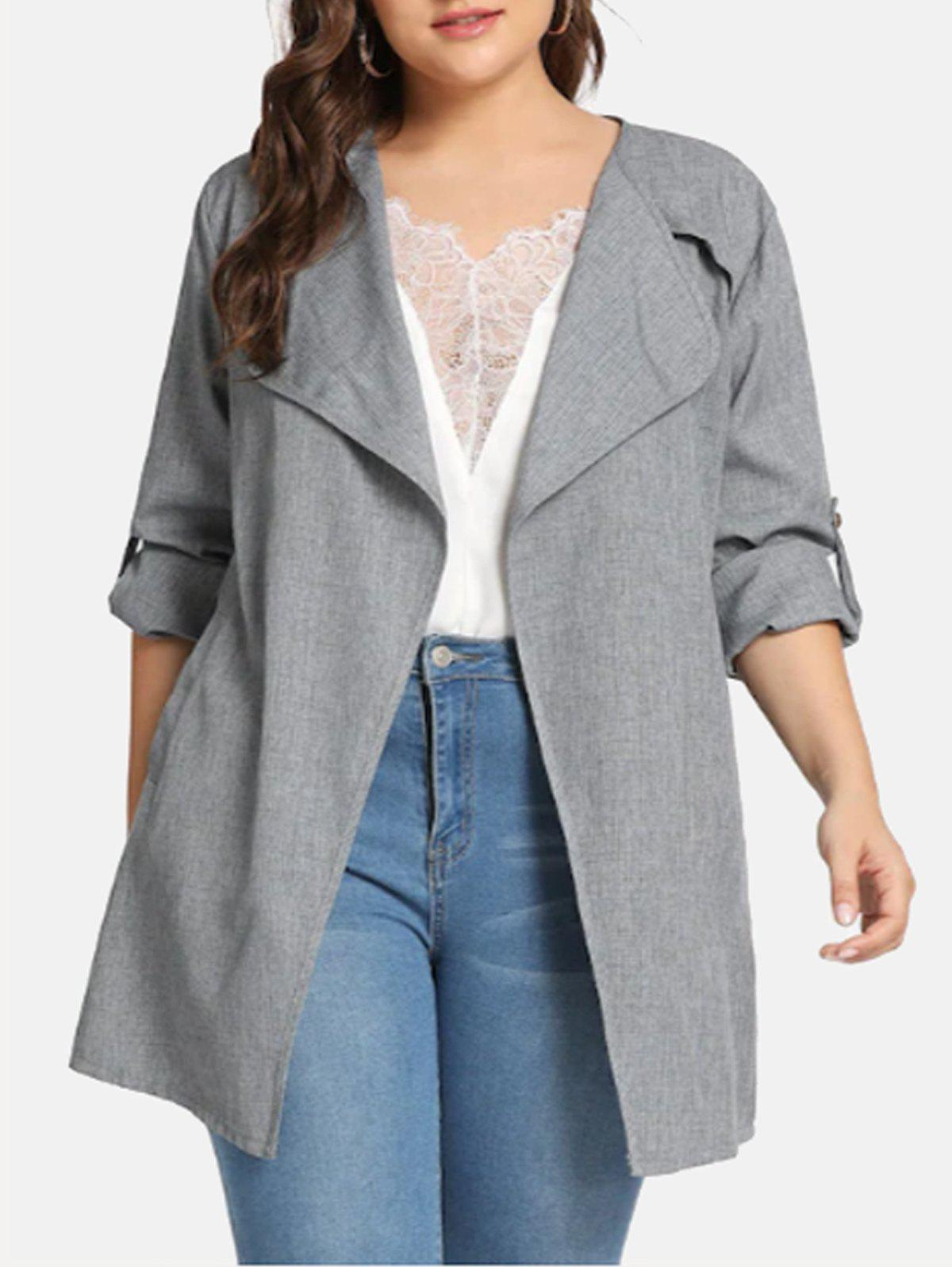 Shops Belted Marl Open Front Plus Size Coat