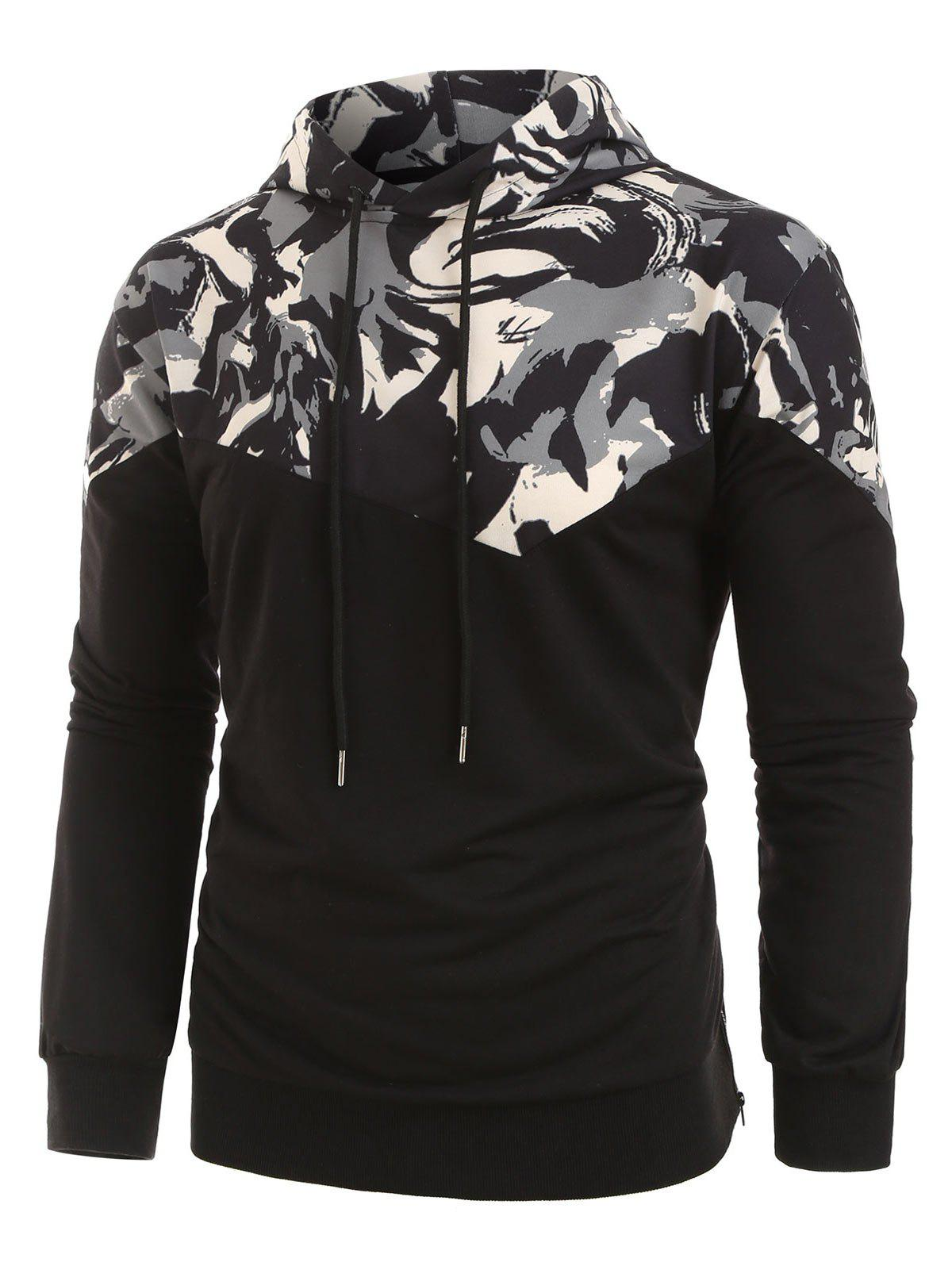 Latest Plus Size Abstract Print Zipper Slit Pullover Hoodie