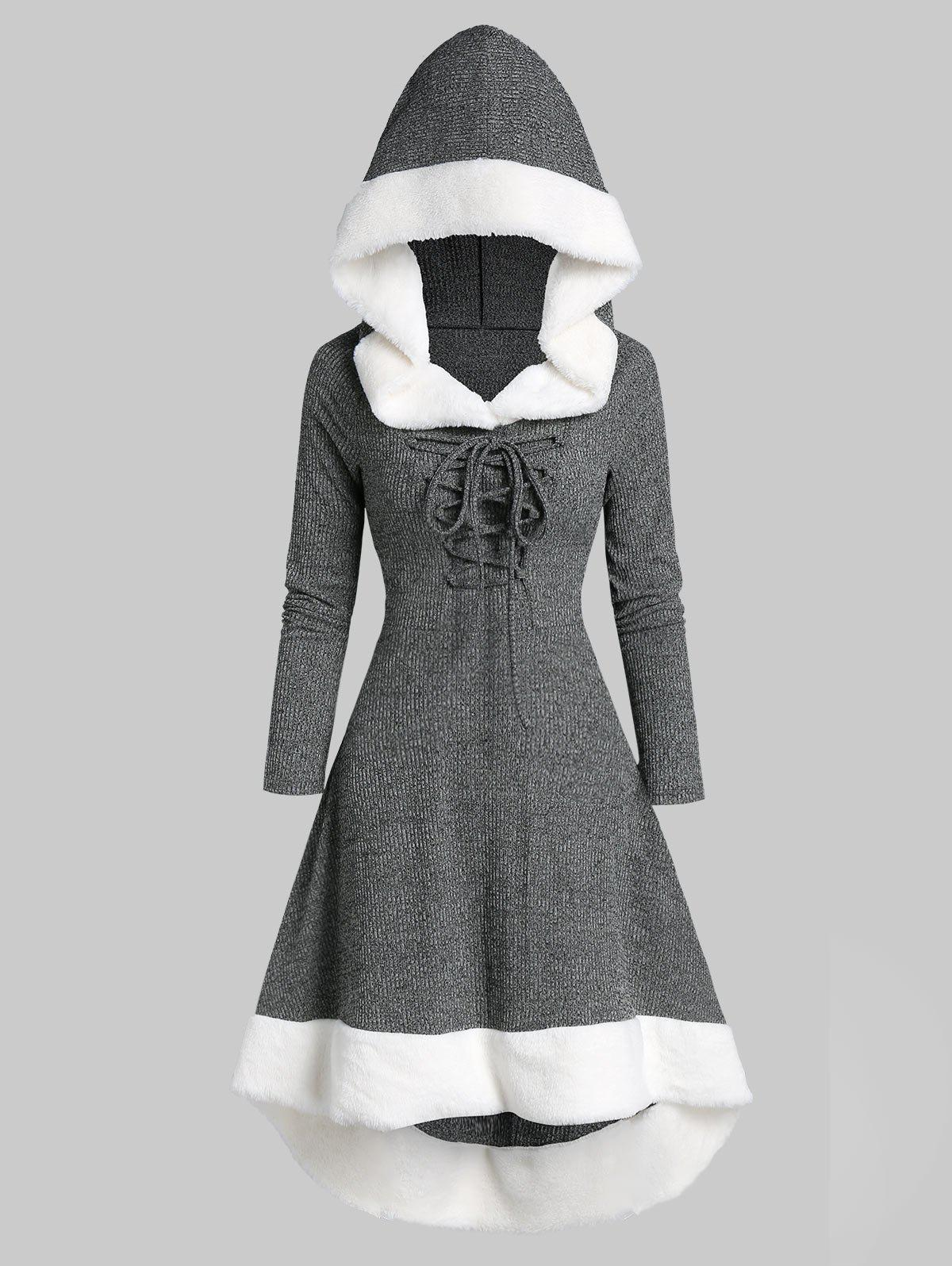 Trendy Lace Up Hooded Marled Faux Fur Panel Dress