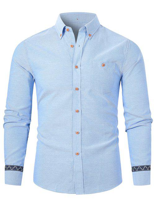 Trendy Geometric Splicing Long-sleeved Button Up Shirt
