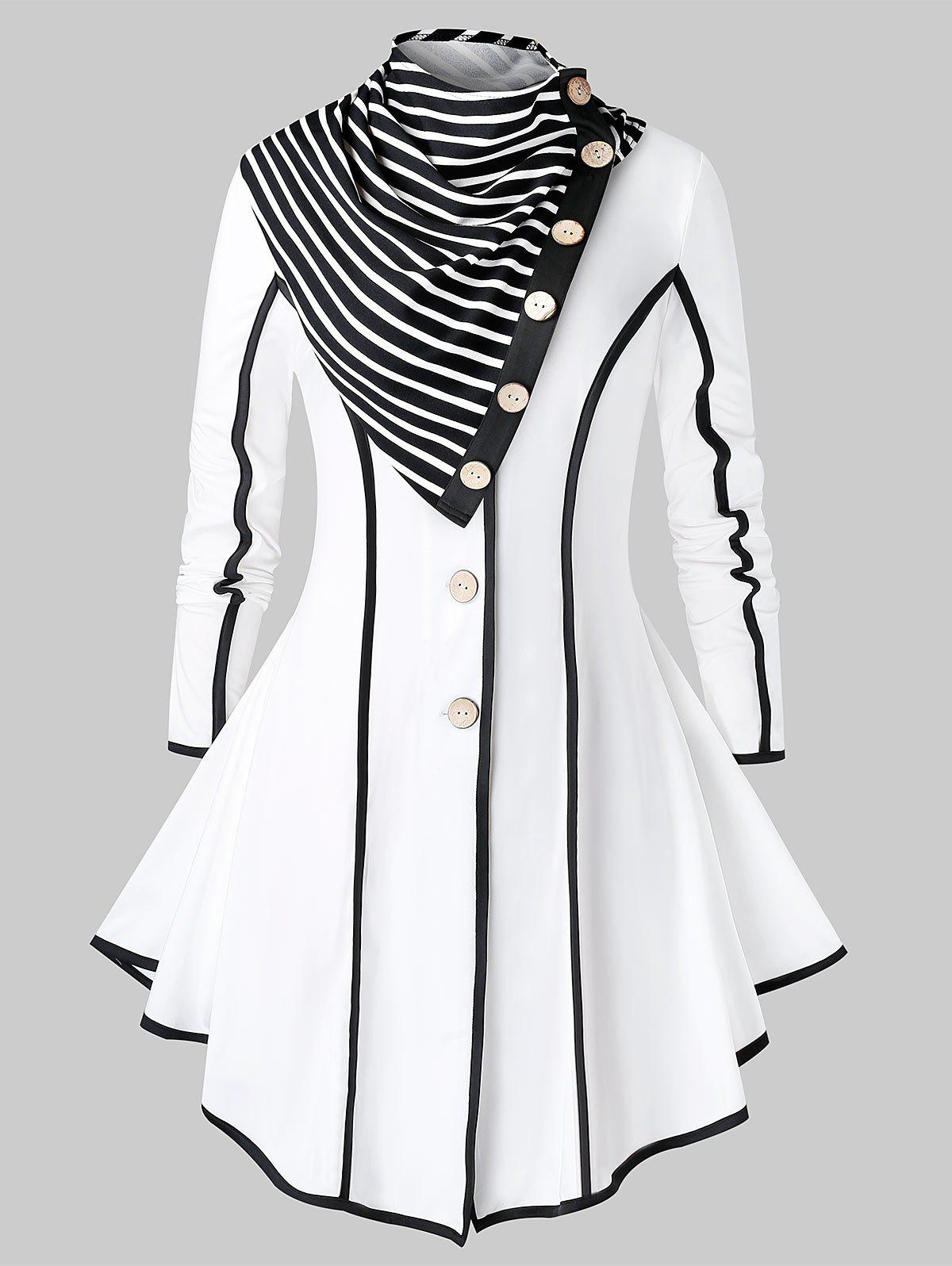 Cheap Plus Size Stripe Trim Skirted Coat With Scarf