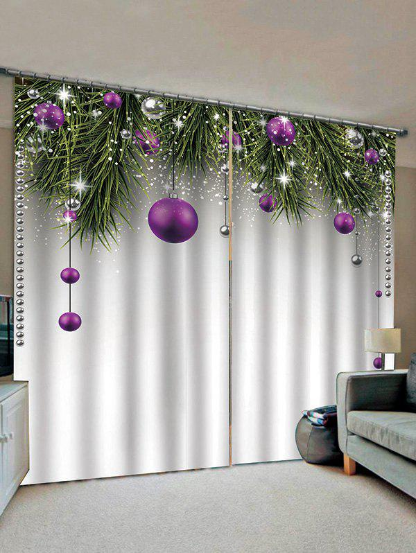 Fashion 2 Panels Christmas Balls Tree Branch Print Window Curtains