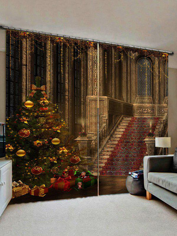 Store 2 Panels Christmas Tree Palace Print Window Curtains