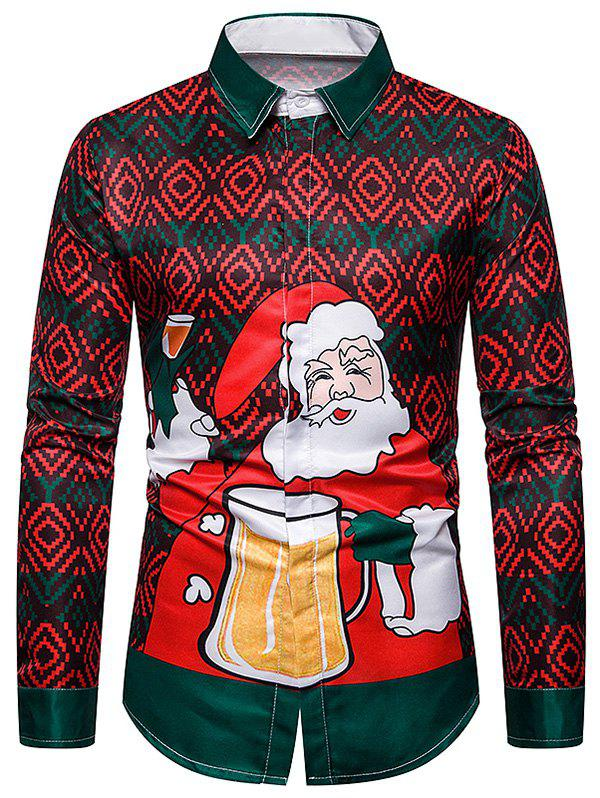 Discount Christmas Santa Drinking Beer Graphic Button Up Shirt