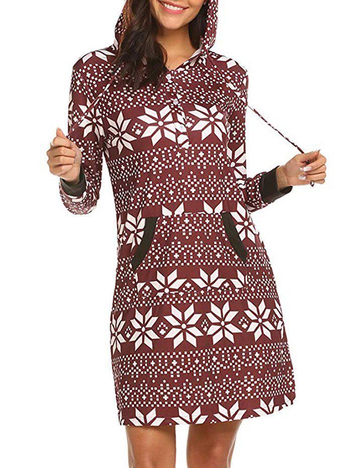 Latest Geo Print Hooded Button Placket Dress