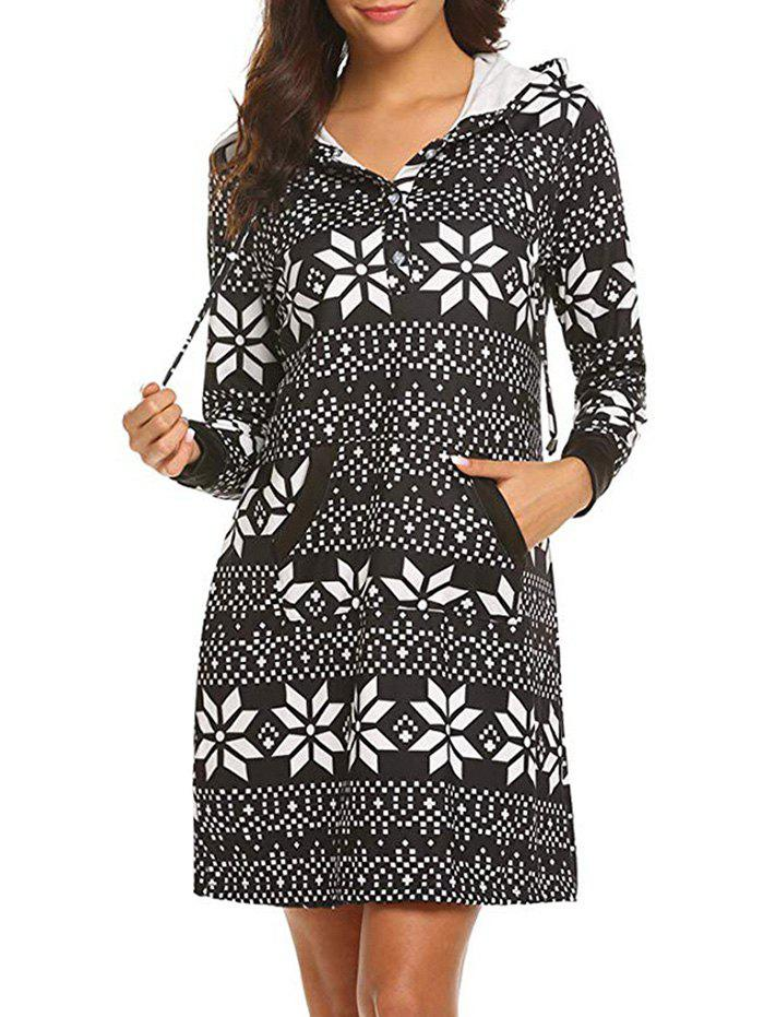 Trendy Geo Print Hooded Button Placket Dress