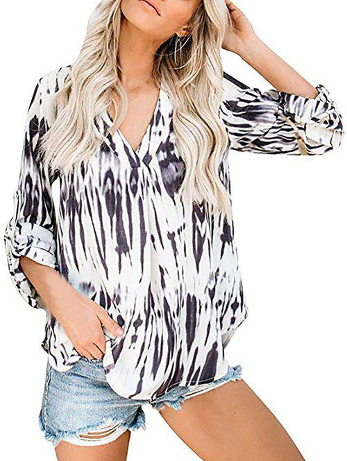 Cheap V Neck Tie Dye Roll Sleeve Blouse