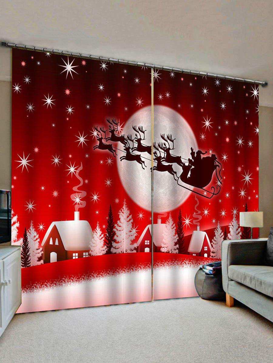 Online 2 Panels Christmas Moon Night Village Print Window Curtains