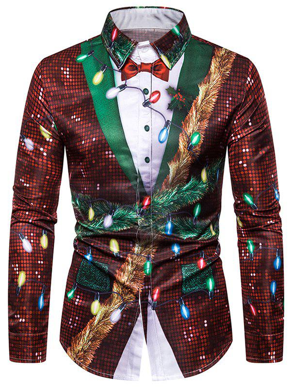Unique Christmas Faux Sequins Button Up Tuxedo Shirt