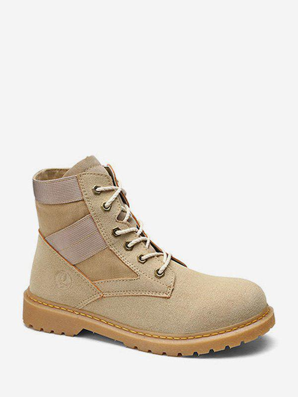 Fancy Round Toe Patch Ankle Cargo Boots