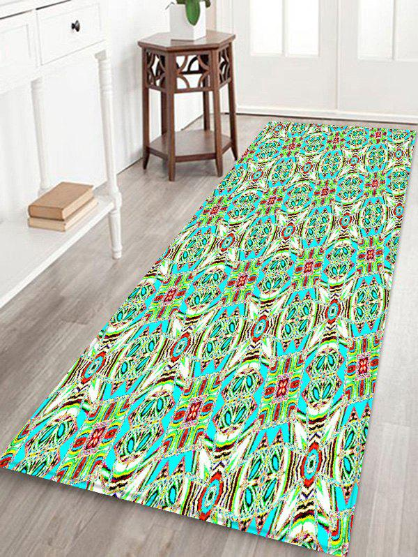 New Geometric Flower Pattern Print Flannel Floor Mat