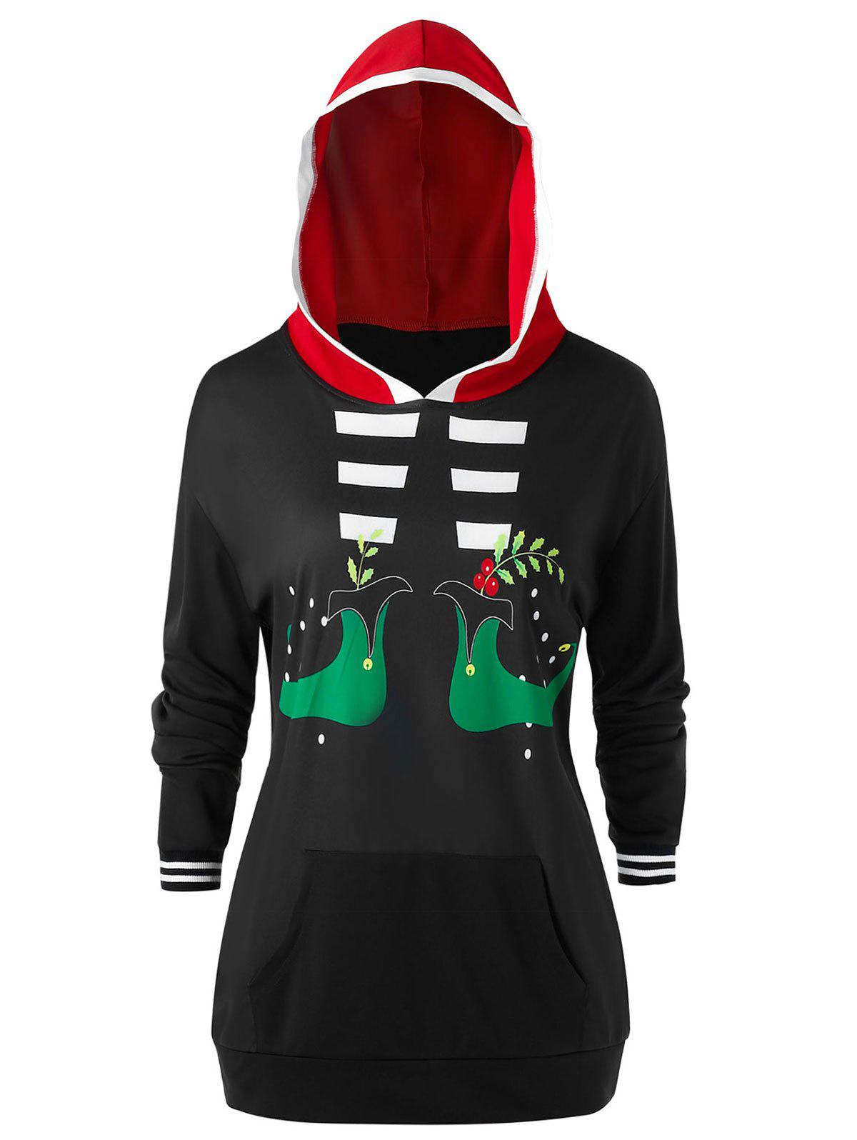 Cheap Plus Size Christmas Funny Graphic Pocket Drop Shoulder Hoodie