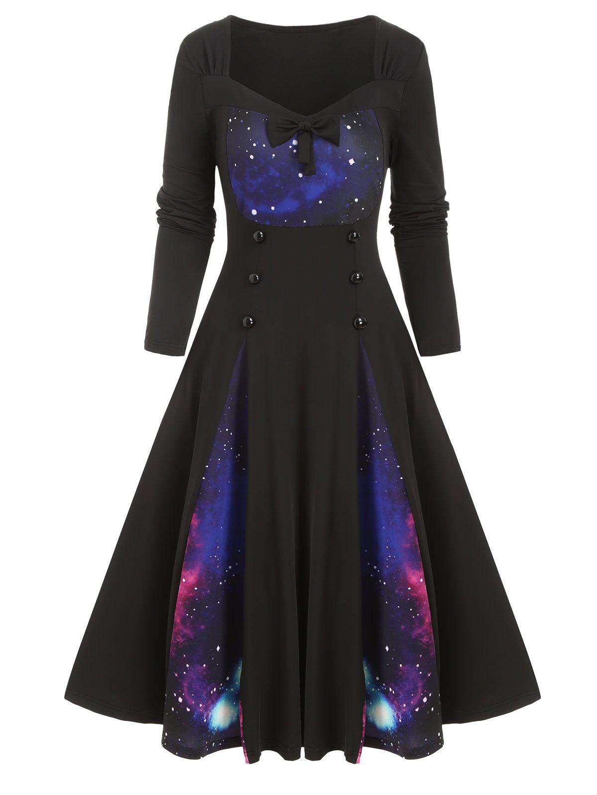 Cheap Galaxy Print Bowknot Buttoned Long Sleeve Dress
