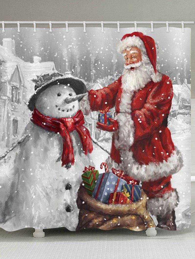 Unique Christmas Santa Claus and Snowman Print Waterproof Bathroom Shower Curtain