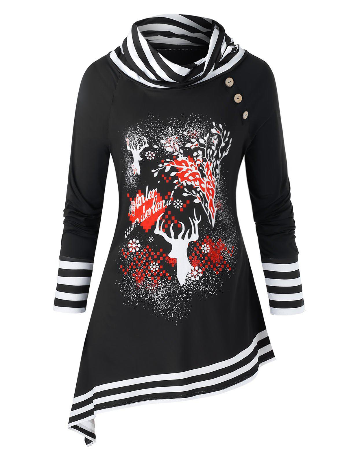 Unique Plus Size Christmas Elk Print Striped Asymmetric Tunic Sweatshirt