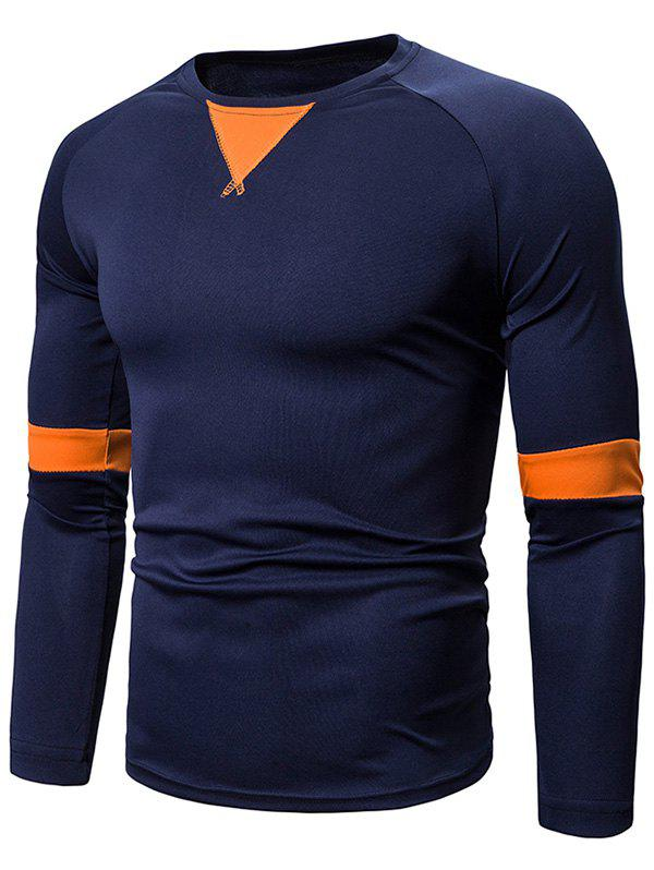 Affordable Casual Color Spliced Full Sleeves T-shirt