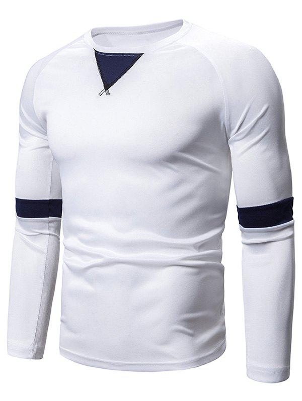 Cheap Casual Color Spliced Full Sleeves T-shirt