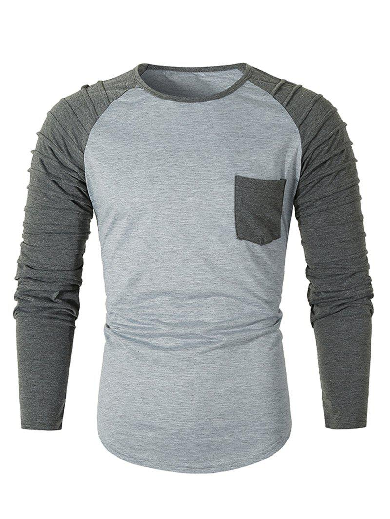 New Pleated Raglan Sleeve Colorblock Spliced Chest Pocket T-shirt