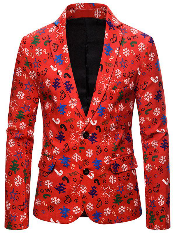 Fancy Christmas Stocking Tree Candy Single Breasted Casual Blazer