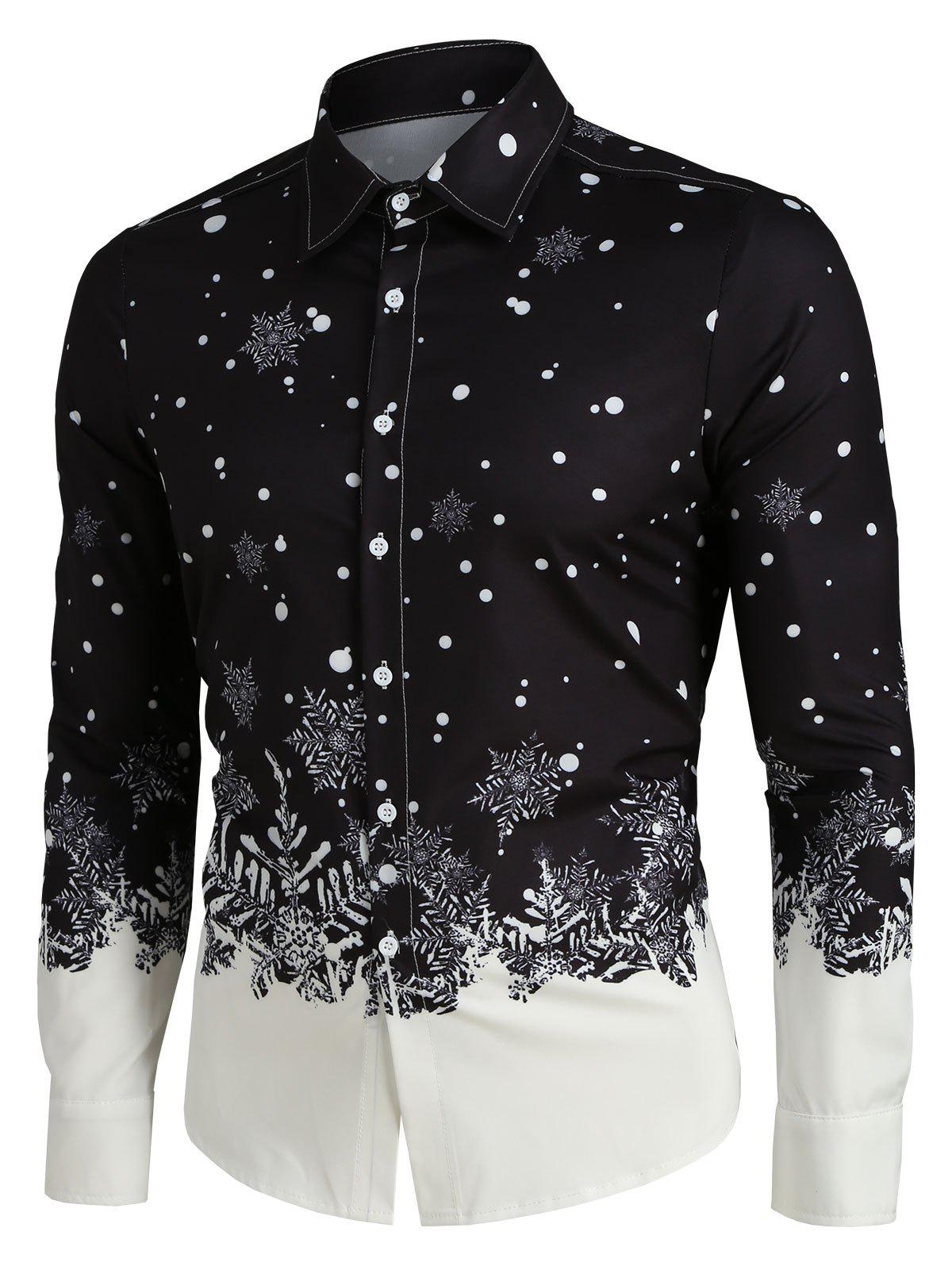 Store Christmas Snowflake Print Long Sleeve Button Up Shirt