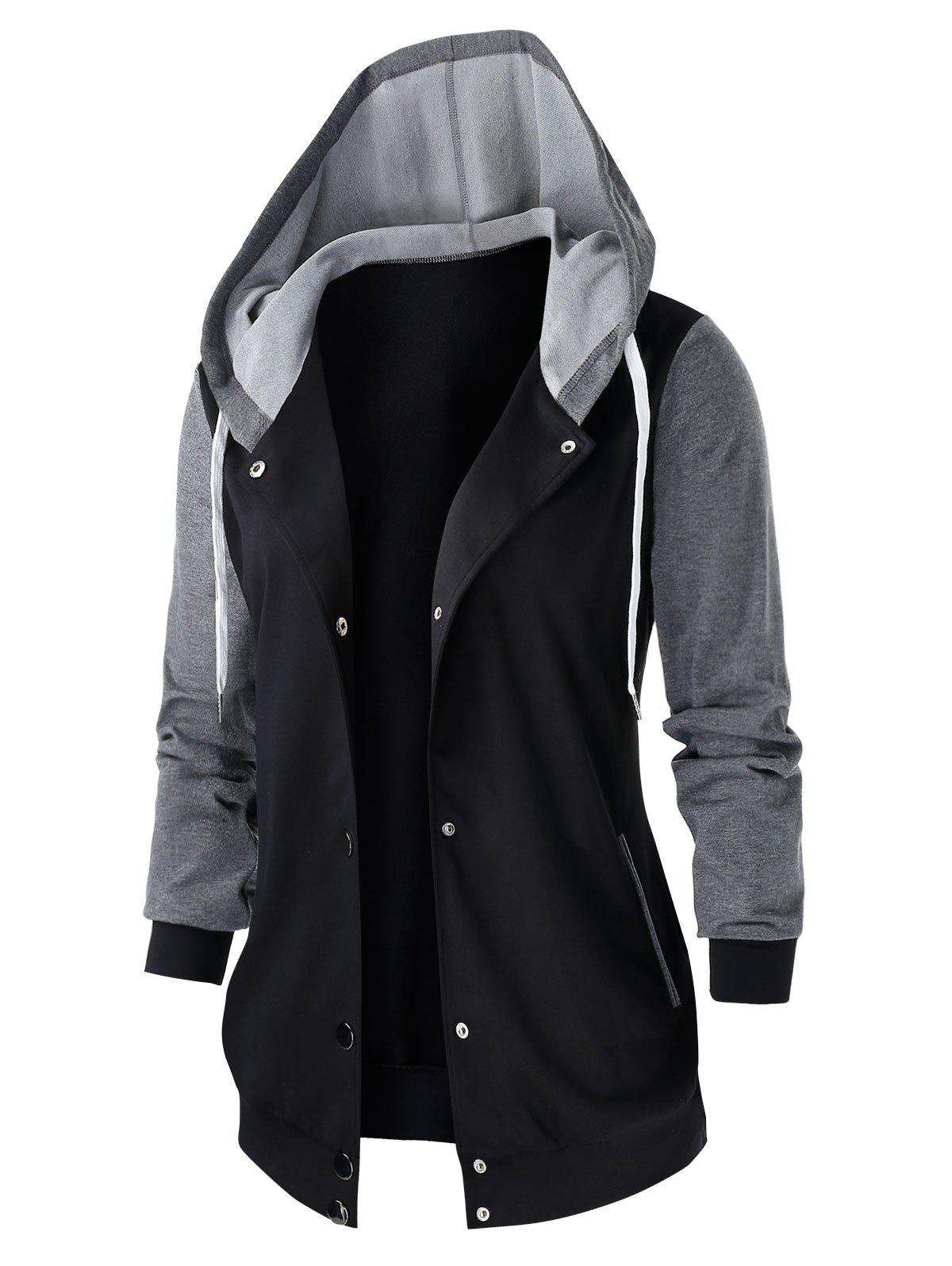 Outfit Plus Size Two Tone Hooded Tunic Jacket