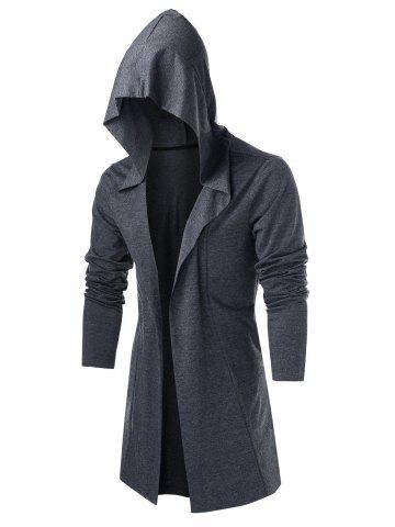 Open Front Hooded Heathered Cardigan - GRAY - M