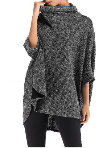 Roll Neck Heathered High Low Poncho Sweater