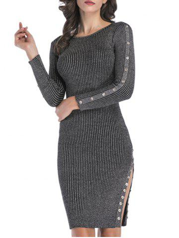 Ribbed Buttons Metallic Thread Bodycon Jumper Dress