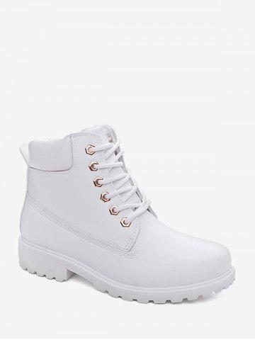 PU Leather Lace Up Brushed Cargo Boots