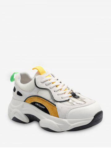 Color-blocking Breathable Lace Up Dad Sneakers