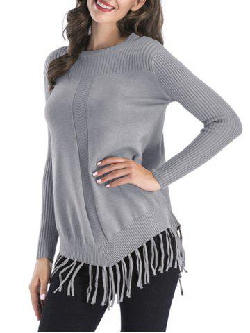 Crew Neck Ribbed Fringed Sweater - GRAY - L