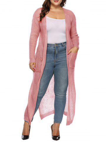 Longline Open Placket Dual Pocket Slit Plus Size Cardigan - from $23.60