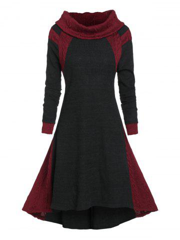 High Low Contrast Color Cable Knit Dress