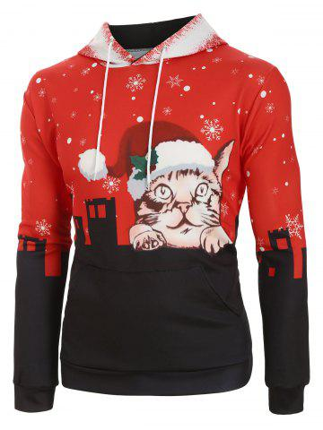 Snowy City Christmas Cat Graphic Front Pocket Hoodie