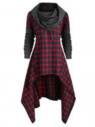 Plus Size Plaid High Low Front Pocket Hoodie -