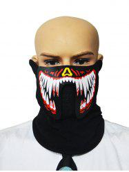 Halloween Cosplay Patterned Sound Control LED Glowing Dreathing Mask -