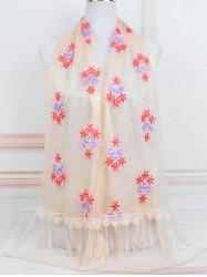 Flower Pattern Lace Tassel Long Scarf -