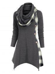 Plaid Convertible Neck Button Embellished Asymmetrical T-shirt -