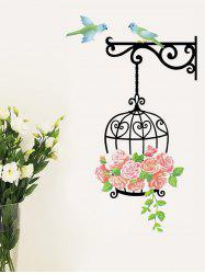Flower Cage and Birds Print Decorative Wall Art Stickers -