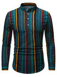 Retro Vertical Striped Stand Collar Henley Shirt -